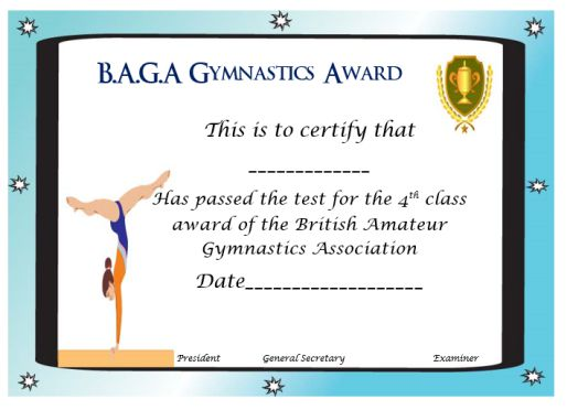 Baga Gymnastics Award Template Sumo