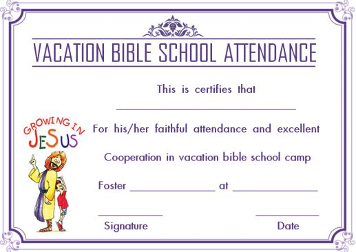 12 Vbs Certificate Templates For Students Of Bible School Church