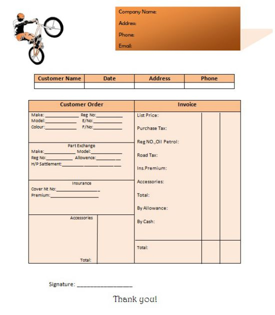 used motorcycle invoice