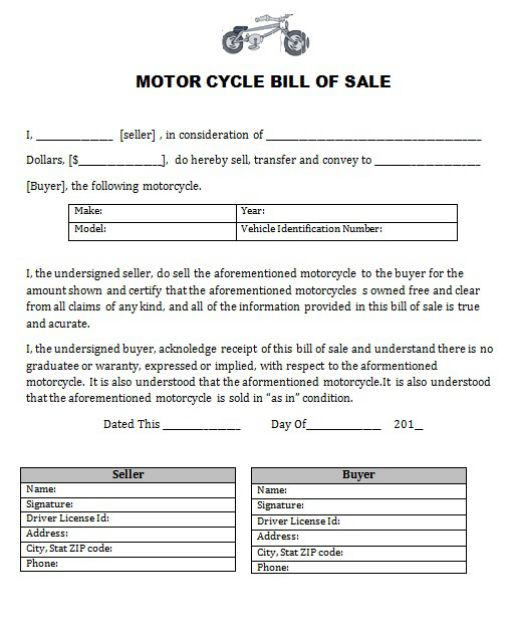 motorcycle bill of sale invoice