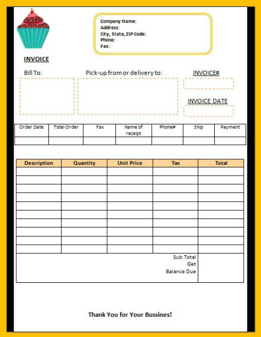 7 Free Cake Invoice Templates For Bakery Business Template Sumo