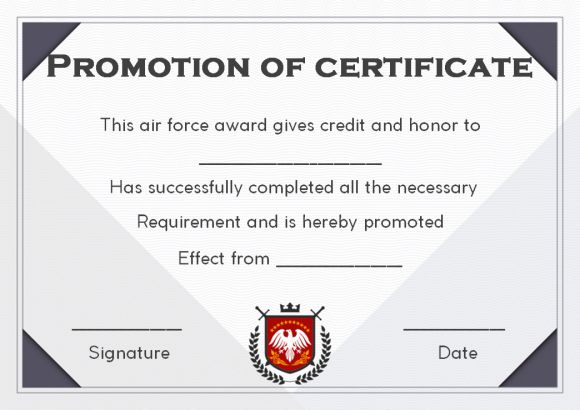 Promotion certificate archives template sumo airforce officer promotion certificate template yelopaper Images
