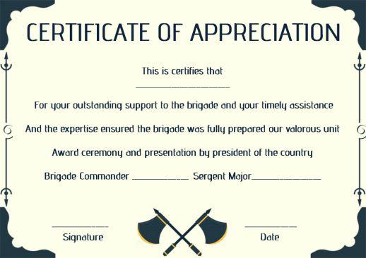 Salvation Army Reciation Certificate