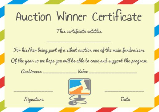 Silent Auction Winner Certificate Template Explore Best Templates