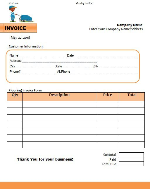 Flooring Invoice Templates