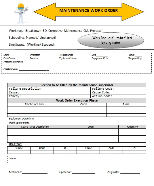 work order receipt template