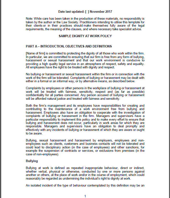 bullying and harassment policy templates for workplace schools 24