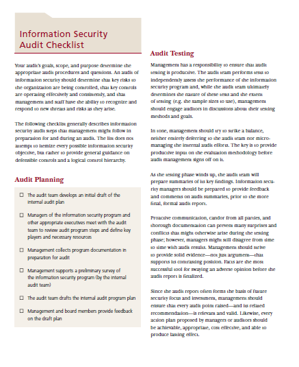 Information Security Audit Checklist Template for Businesses (13