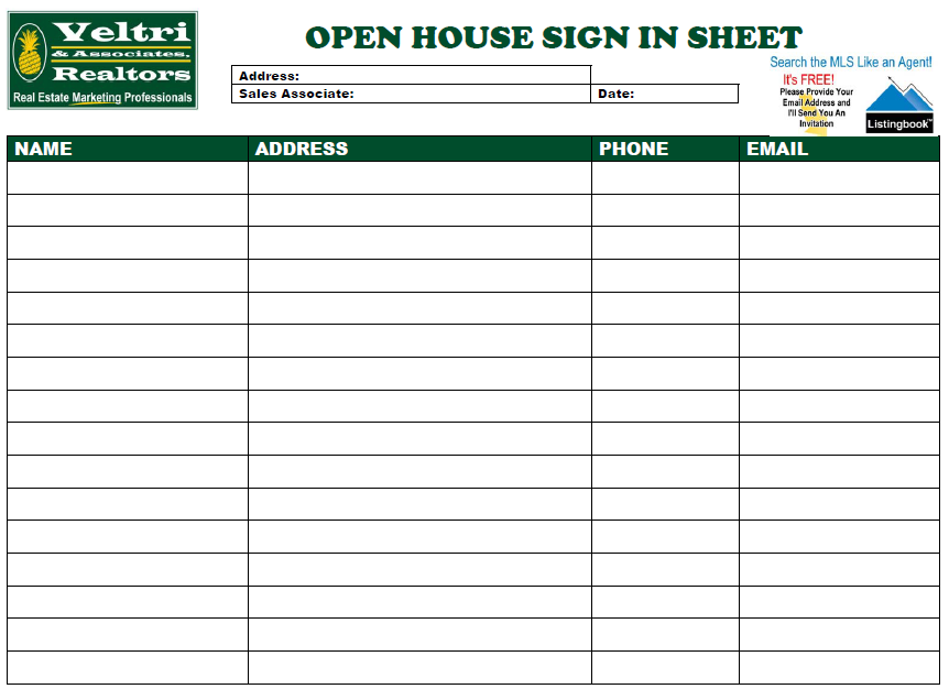 open house sign in template