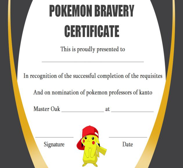 20 Pokemon Trainer Certificate Templates Get Surprised Stunning
