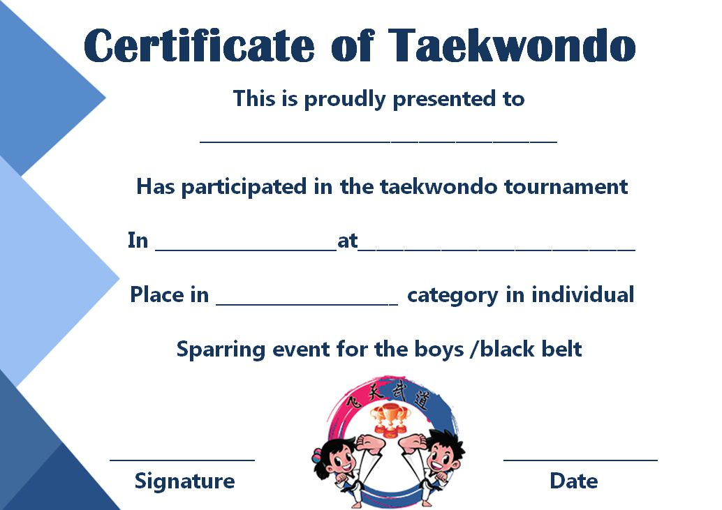 Taekwondo Certificate Templates For Trainers Students Inspiring