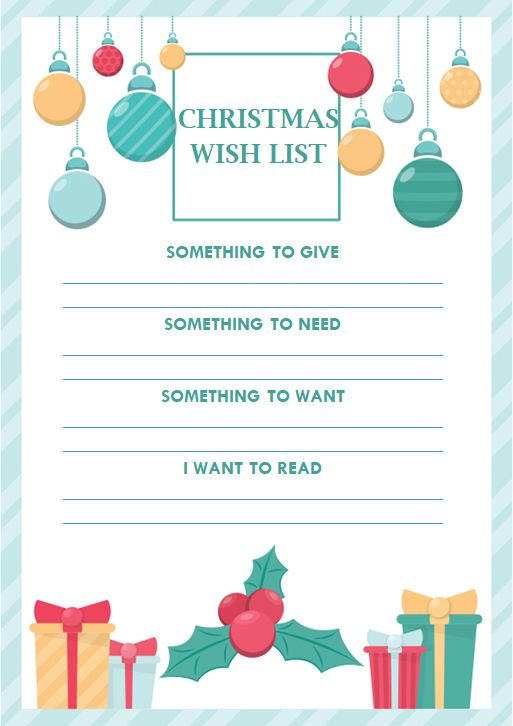 Colorful Christmas Wish List Templates For Students, Teachers ...