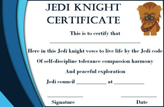 Jedi Certificate Template:Training Certificates for Jedi Program