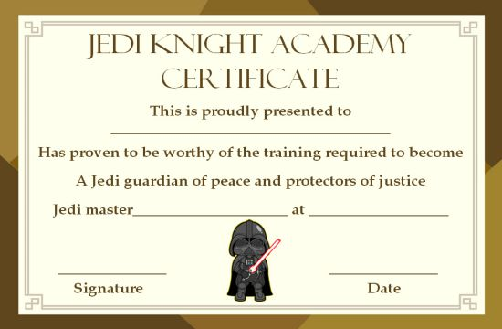 Jedi Certificate Templatetraining Certificates For Jedi Program