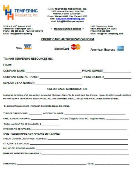 credit authorization form template - Emayti