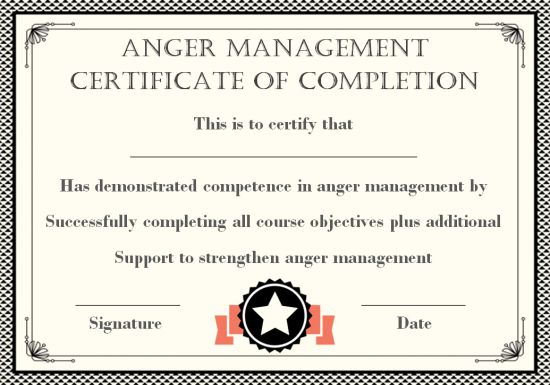 photograph relating to Printable Anger Management Certificate known as Anger Command Certification: 15 Templates with Editable