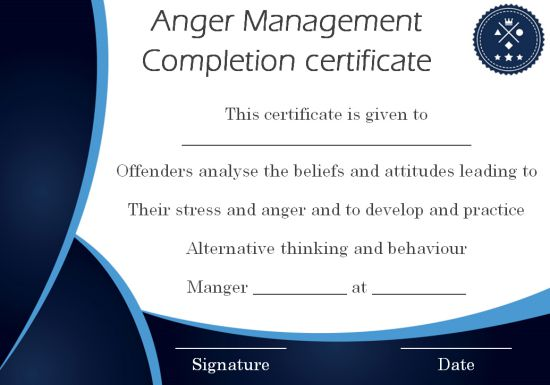 Anger Management Certificate 15 Templates With Editable Samples