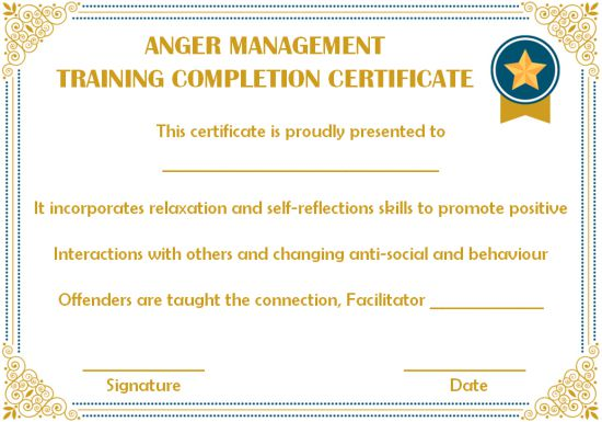 training completion certificate sample