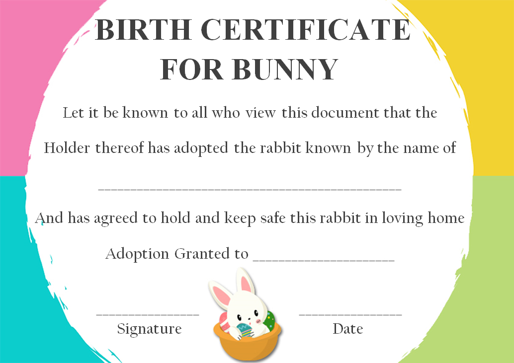 rabbit birth certificate 10 certificates free to print and download