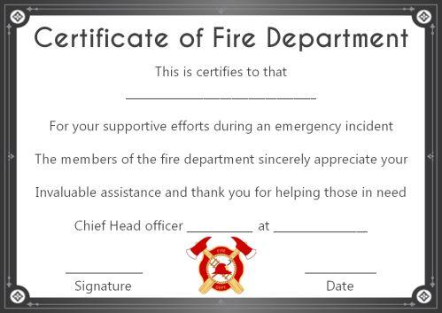 Fire Department Certificate Templates