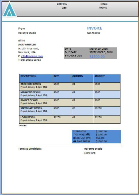free hourly service invoice