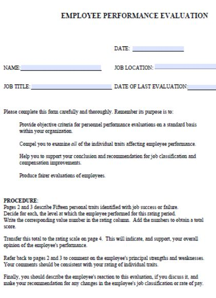 Employee Performance Evaluation Form 30 Fabulous Templates To