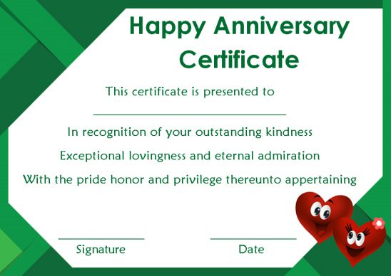 Wedding Anniversary Certificate Templates 15 Most Beautiful And