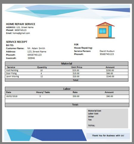 home repair invoice pdf