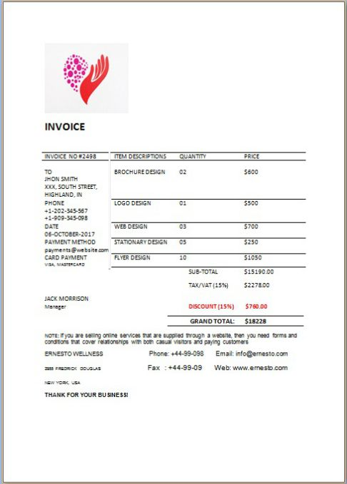 invoice with hours and rates