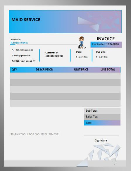 Maid Service Invoice Template Free Cleaning Service Templates
