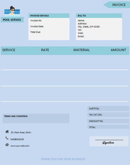 Pool Invoice Templates 6 Free Templates For Pool Services