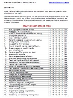 Relationship Report Card Template Grading The Health Of Your