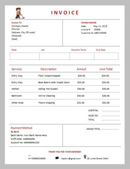 Maid Service Invoice Template Free Cleaning Service