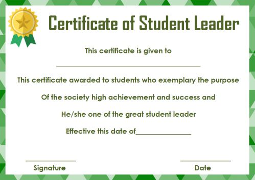 Student Leadership Certificate 10 Best Student Leadership