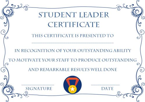 Student Leadership Certificate Archives Template Sumo