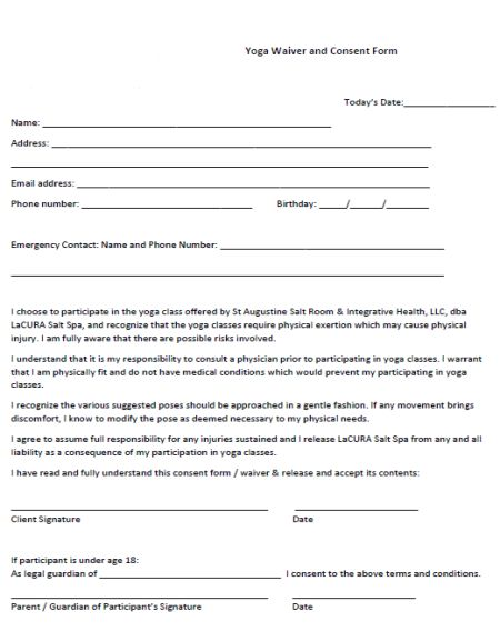 Yoga Waiver And Consent Form