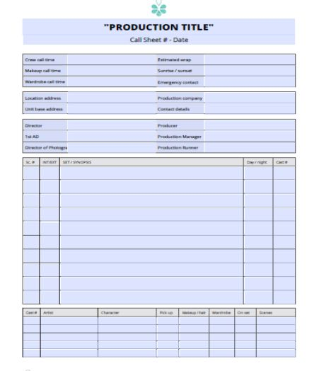Call Sheet Template 30+ Templates Free Download in Word and