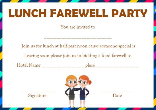 Invitation To A Farewell Party For A Colleague