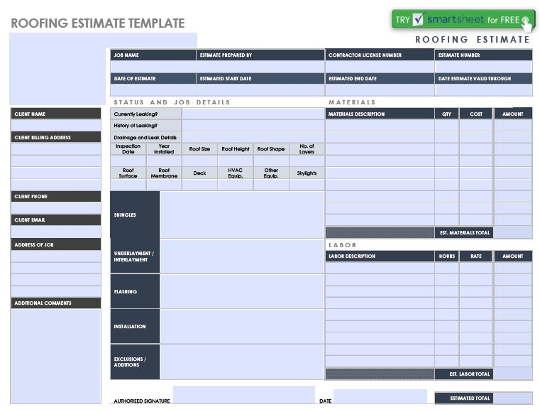 Roofing Estimate Form: 7 Examples and Samples in Word, PDF