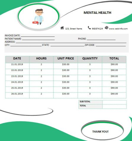 Mental health invoice template: 6 Best PDF and Word