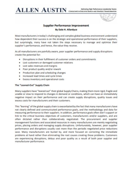 S Performance Improvement Plan Template
