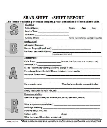 SBAR Nursing Report Template Download Free 18 Templates In