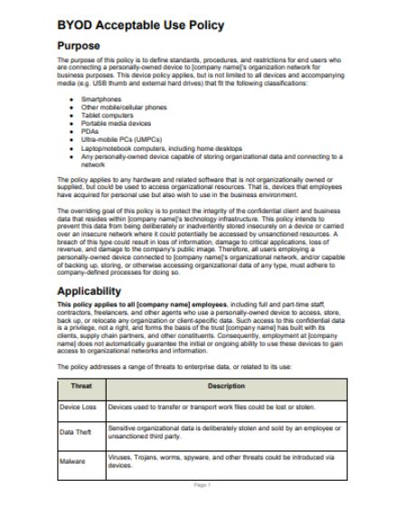 BYOD Policy Template: 19 Templates at Your Fingertips and