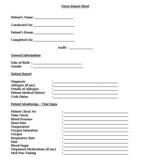 Nursing Report Sheet Template 15 Best Templates And Images In Pdf Format Free Download Template Sumo
