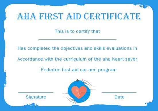 AHA First Aid Certificate