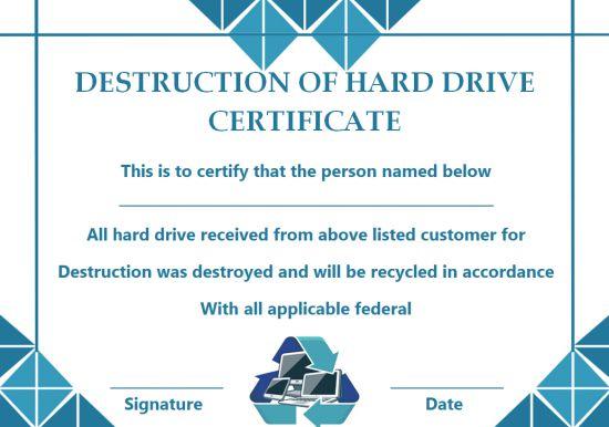 Hard Drive Certificate Of Destruction Template Archives