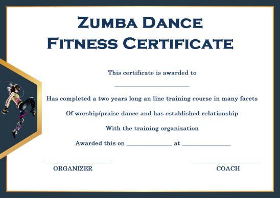 Zumba Certificate Templates 10 Free Customizable Design