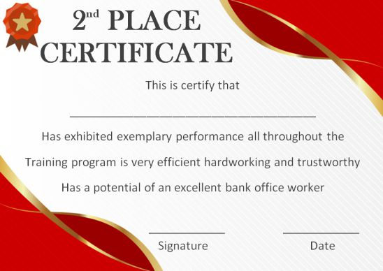 2nd place certificate template