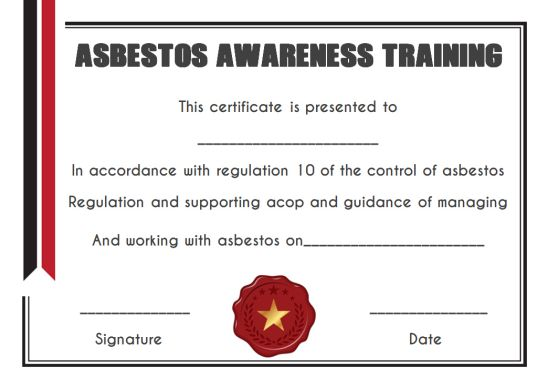Asbestos Awareness Training Certificate Template