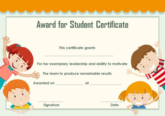 Award For Student Certificate